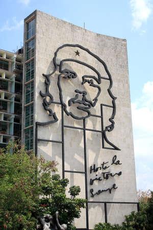 Havana, Cuba - April 4, 2011 - Iconic steel figure of Che Guevara at the Ministry of the Interior building, Revolution Square, Havana, Cuba.