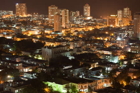 habana: Aerial view of modern quarter of Vedado in Havana, Cuba, at night.