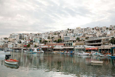 View of Mikrolimano Port in Piraeus, near Athens, Greece, at sunset. Standard-Bild