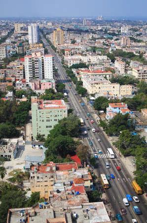 Aerial view of Vedado Quarter in Havana, Cuba.