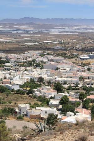 Aerial view of Nijar, a typical Andalusian village in the province of Almeria, Spain. Stock Photo