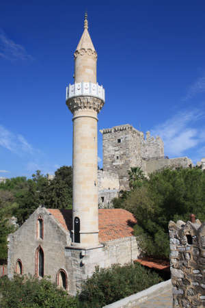st peter: Medieval castle of St Peter and mosque (Suleymaniye Camii), Bodrum, Mugla Province, Turkey.
