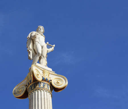 Neoclassical statue of ancient Greek god of the sun, Apollo, outside the Academy of Arts in Athens, Greece, with copyspace. Stock Photo - 16152221