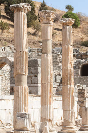 Classical columns in ancient Ephesus  Ephesus was an ancient Greek city and later a major Roman city  It was once the commercial centre of the ancient world and now it is the largest classical archaeological site in the world  Stock Photo