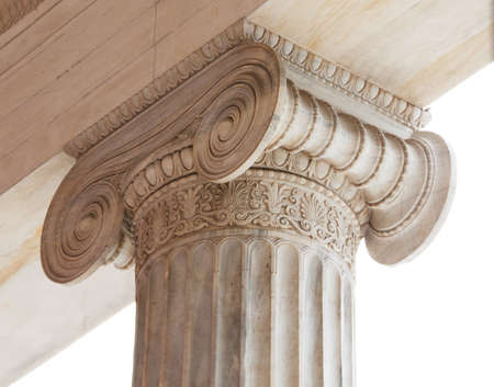 volute: Closeup of capital  volute and abacus  of a nineteenth century neoclassical ionic column located in the porch of the Archaeological Museum of Athens, Greece
