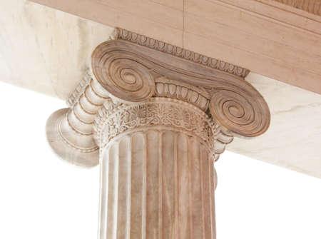 volute: Primo piano di capitale (voluta e abaco) di un secolo in stile neoclassico colonna ionica diciannovesimo trova nel portico del Museo Archeologico di Atene, in Grecia.