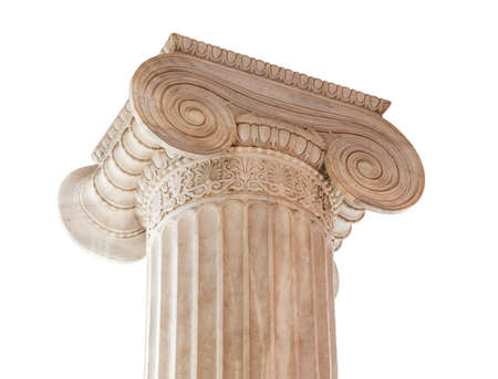 Closeup of capital  volute and abacus  of a nineteenth century neoclassical ionic column isolated on white  This column is located in the porch of the Archaeological Museum of Athens, Greece