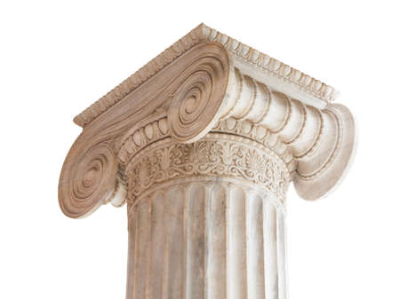 Closeup of capital (volute and abacus) of a nineteenth century neoclassical ionic column located in the porch of the Archaeological Museum of Athens, Greece.