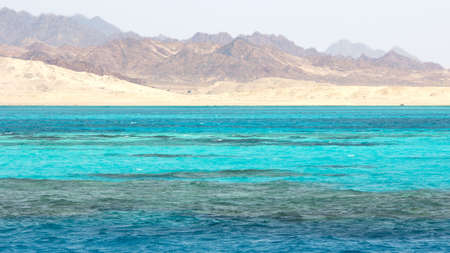 sinai: Landscape in Ras Mohammed National Park in the Red Sea with its coral reefs, Egypt. Stock Photo