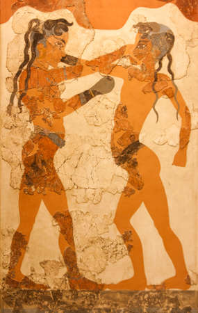 civilisation: Fresco depicting two young boxers, which was uncovered in Akrotiri, in the island of Thira  Santorini , in Greece, dating to approximately 3500 BC