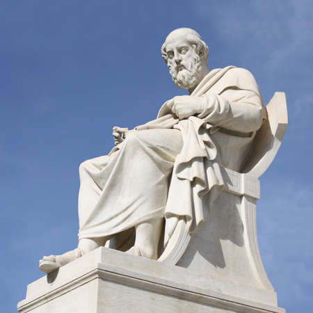 plato: Nineteenth century neoclassical statue of ancient Greek philosopher Plato outside the Academy of Arts of Athens in Greece. Stock Photo