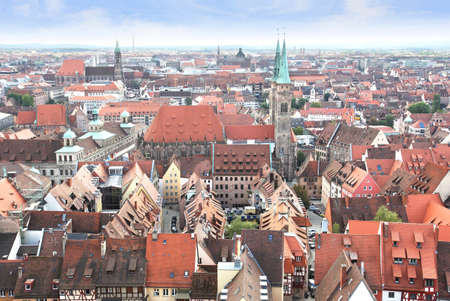 View over Nuremberg old town from the Kaiserburg, Franconia, Bavaria, Germany
