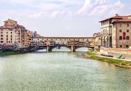 Picturesque Ponte Vecchio bridge in Florence old town in Tuscany, Italy