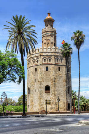 Torre del Oro or Golden Tower, a medieval Arabic military dodecagonal watchtower in Seville, southern Spain, Andalusia, Spain  Editorial