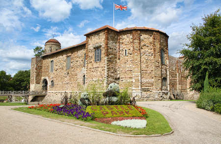 norman castle: Medieval Norman castle and Castle Park gardens in spring, in Colchester, Essex, England, United Kingdom