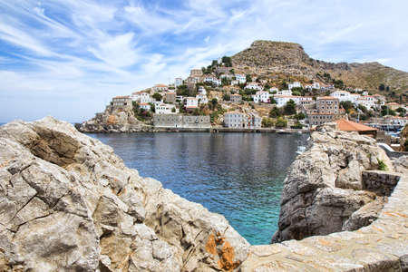 View of Hydra or Ydra, a picturesque Greek Saronic island in the Aegean Sea  photo
