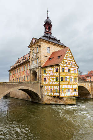 old town hall: The old Town Hall in Bamberg built in the middle of the river Regnitz, in Upper Franconia, Bavaria, Germany, with facade covered with colourful frescoes.