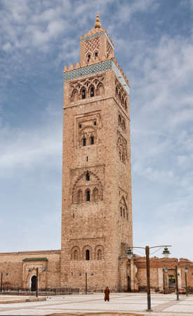 Koutoubia Minaret or Kutubiyya Mosque in the medina quarter of Marrakech in Morocco Stock Photo