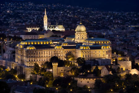 A night view of Buda Castle Royal Palace on the southern tip of Castle Hill int the Buda side of Budapest, Hungary. Editorial