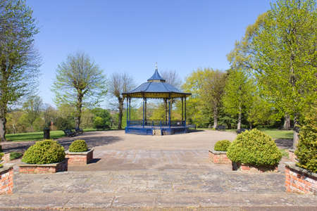 Emtpy Colchester Castle Park during lockdown with bandstand as main focus in April 2020.