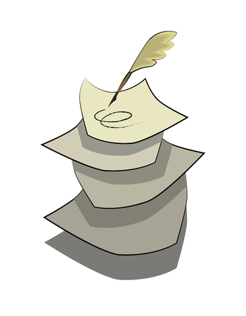 quill pen: quill pen drawing line on paper,illustration Illustration