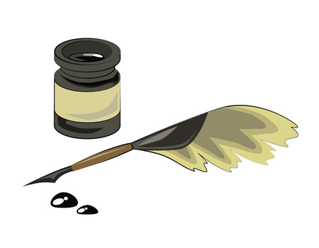 inkstand: quill pen,black inkstand and drop ink