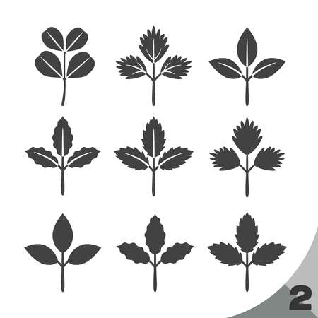 vegetate: 9 style shape of leaf (green color),leaf icon Illustration