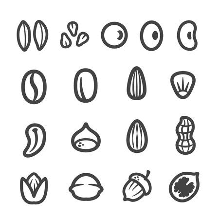 Graan, noot, zaad dunne lijn icoon set