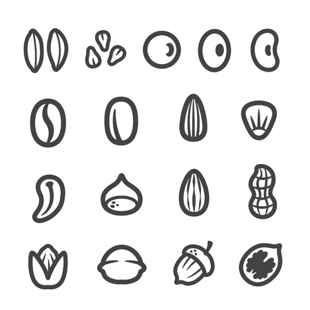 grain,nut,seed thin line icon set