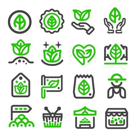 mercato verde, icona di sottile linea di mercato organico