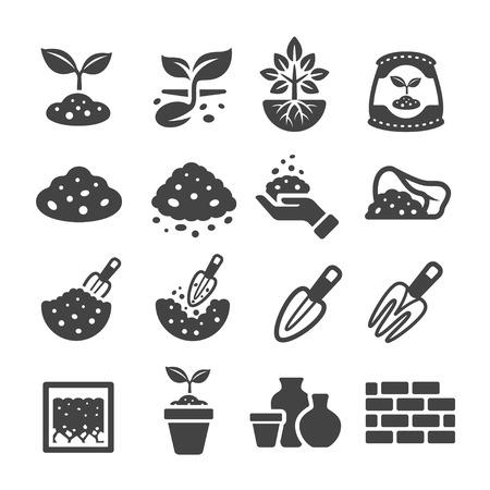 earthenware: soil icon Illustration