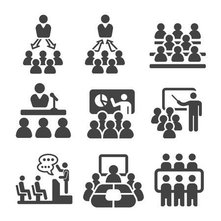 Seminario, enseñanza, conjunto de iconos de la reunión Ilustración de vector