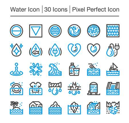 water line icon,editable stroke,pixel perfect icon Vectores