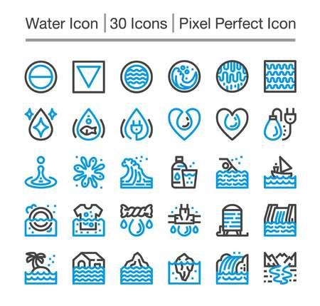 water line icon,editable stroke,pixel perfect icon Vettoriali