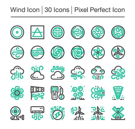 wind line icon,editable stroke,pixel perfect icon Vectores