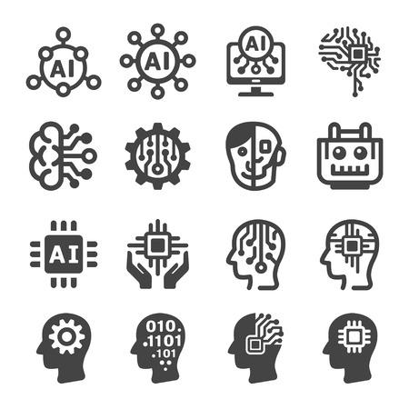 artificial intelligence,AI icon set 向量圖像