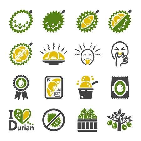 durian fruit icon set