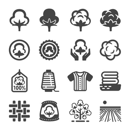 cotton icon set Stock Illustratie