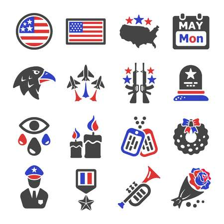 memorial day icon set