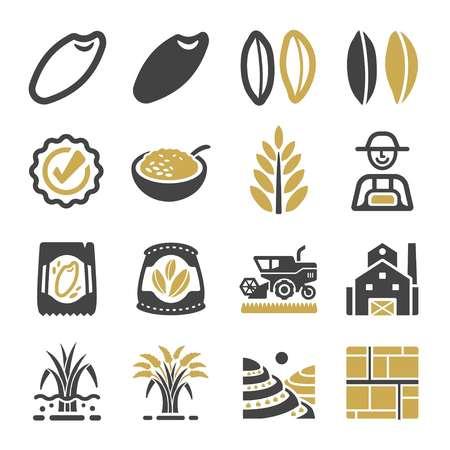 jeu d'icônes de riz