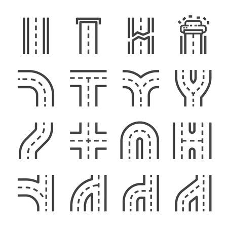 road line icon set