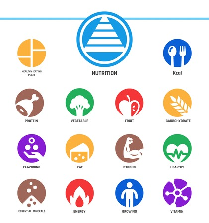 nutrition,inverse flat style,icon set  イラスト・ベクター素材