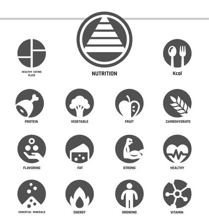 nutrition,inverse flat style,icon set
