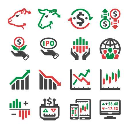 stock and investment icon set