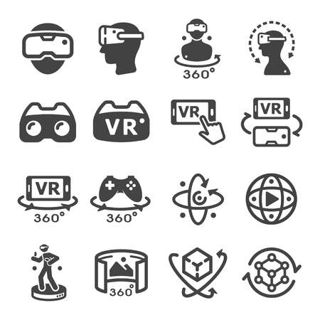 virtual reality technology icon set Çizim