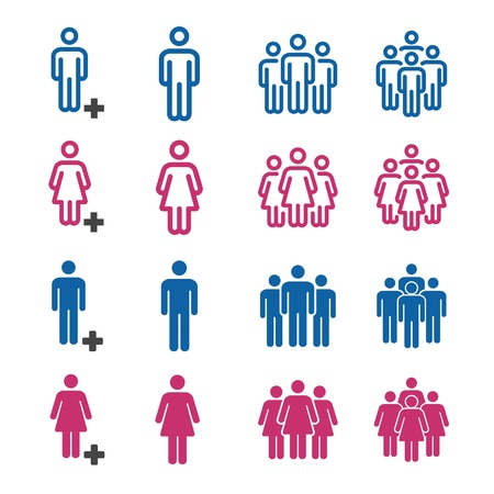 people and population icon set 向量圖像