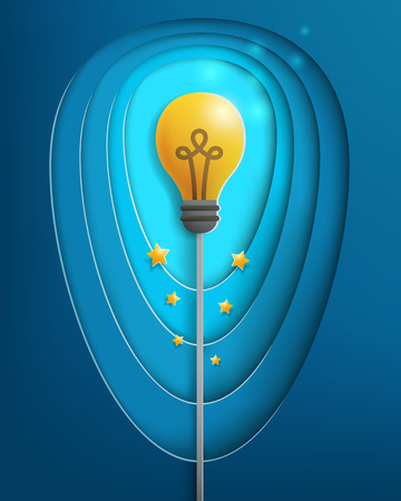 realistic bright light bulb with deep layers of background,creative idea and business concept,paper cut style,vector and illustration