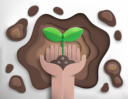 paper cut of hand planting sprout into soil hole,ecology and nature concept,paper art style,vector and illustration