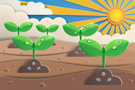paper art of sprout grow up form the ground with cloud and sunshine,nature and ecology concept,paper cut style,vector and illustration