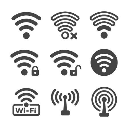 conjunto de iconos de wifi e inalámbricos